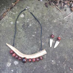 Jewelry - Real Natural Red Tigers Eye Deer Antler Earrings